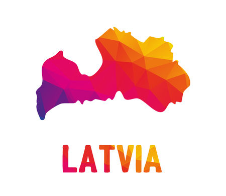 Low polygonal map of Republic of Latvia (Latvijas Republika) with sign Latvia, both in warm colors of red, purple, orange and yellow; sovereign state in Baltic region - Northern Europe