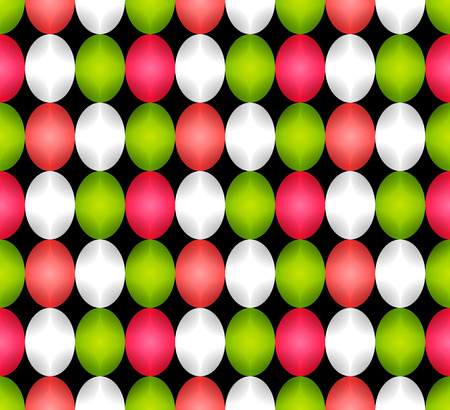 Seamless pattern made of oval abstract geometry shapes with inner starts in vivid shiny colors of shades of red, dark orange, pink, green, white or silver on black background, Easter egg imitation  イラスト・ベクター素材