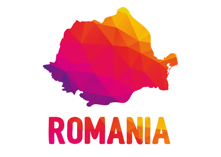 Low polygonal map of Romania (Románia) with sign Romania, both in warm colors of red, purple, orange and yellow; sovereign state in Eastern or Southeastern Europe