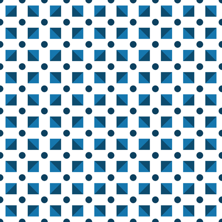 Seamless pattern made or dark blue polka dots and blue (dark and light)  triangles in square shape on white background
