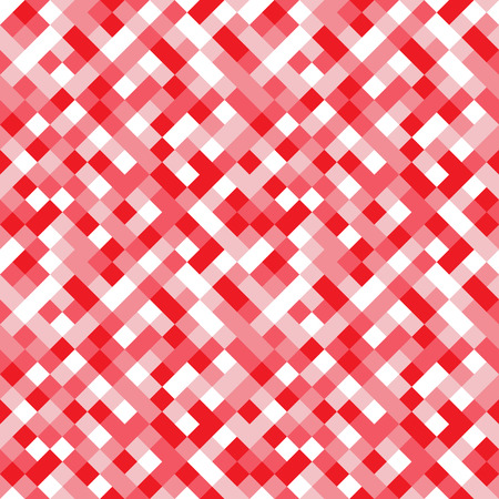 Seamless pattern made of colorful squares rotated by 90 degrees, endless mosaic texture made of shades of pink, red and white, fashionable background, great texture for 8bit games