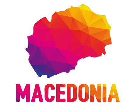 Low polygonal map of Republic of Macedonia (Makedonija; Republic of North Macedonia) with sign Macedonia, both in warm colors of red, purple, orange and yellow; sovereign state in Southeast Europe
