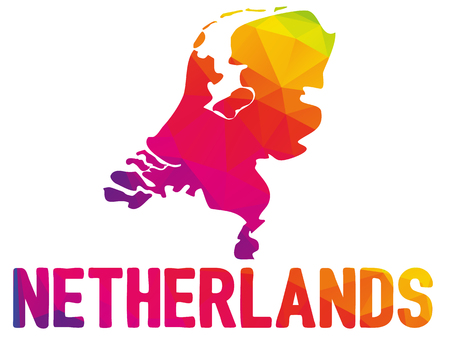 Low polygonal map of the Netherlands (Nederland; Kingdom of the Netherlands, often referred as Holland) with sign Netherlands, both in warm colors of red, purple, orange and yellow; sovereign state in