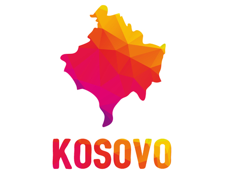 Low polygonal map of Republic of Kosovo (Republika e Kosoves) with Kosovo both in warm colors of red, purple, orange and yellow;  partially recognised state and disputed territory in Southeastern Euro