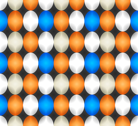 Seamless pattern made of oval abstract geometry shapes with inner starts in cold colors of shades of blue, white, orange and grey on black background, Easter egg imitation