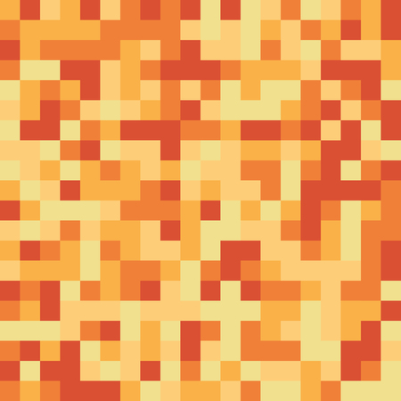 Seamless pattern made of yellow and orange square elements - pixel texture for honey, fire, light or anything yellow - orange in retro 8bit games, also nice for clothes or fashion use, cool web backgr  イラスト・ベクター素材