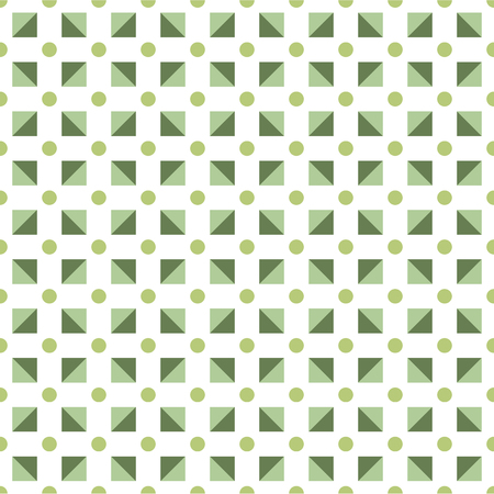 Seamless pattern made polka dots in shades of green; triangles in square shape on white background