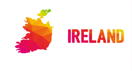 Low polygonal map of the Republic of Ireland (Éire) with sign Ireland, both in warm colors of red, purple, orange and yellow; sovereign state in North - Western Europe island  イラスト・ベクター素材
