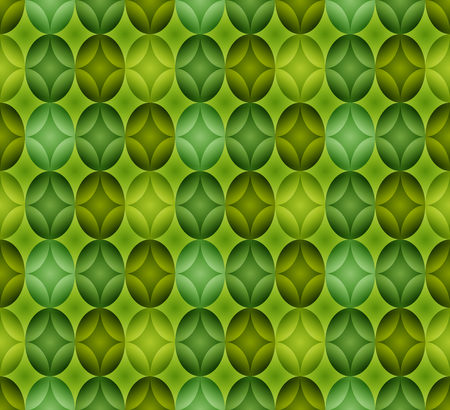 Seamless pattern made of oval abstract geometry shapes with inner starts in colors of shades of greenon grass colored background, Easter egg imitation  イラスト・ベクター素材