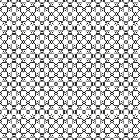 Seamless simple triangle black and white pattern, regular geoemetry equilateral connected triangles, with black outlit (outline), unusual abstract background  イラスト・ベクター素材