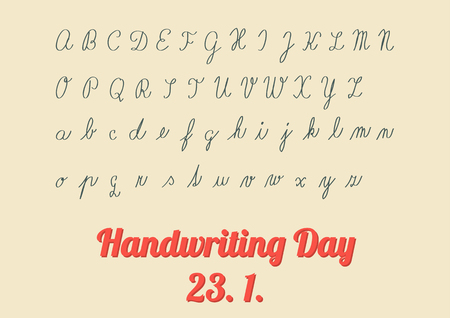 Vintage poster for Handwriting Day, 23 January - celebration is held annualy; with hadnwriting of child like is teaching at school - full font of upper and lower letters  イラスト・ベクター素材