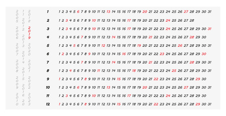 Simple 2019 horizontal year calendar with highlighted Sundays, easily can be reused in future (just unmark red Sundays), minimalist and decent calendar which can be used everywhere