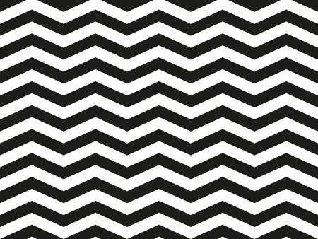Regular black and white loosy zigzag chevron pattern, seamless zig zag line texture abstract geometry background  イラスト・ベクター素材