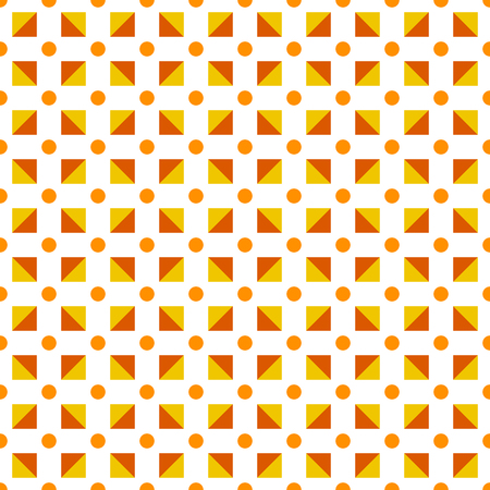 Seamless pattern made polka dots in shades of orange and red; triangles in square shape on white background