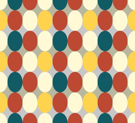 Nahtloses Muster, das von den Retro-farbigen ovalen abstrakten Geometrieformen in den Weinlesefarben Rot, Braun, Blau, Yeelow - Orange auf grauem Hintergrund, Ostereiimitation gemacht wird Vektorgrafik