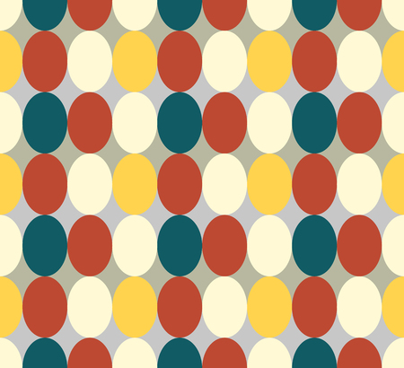 Seamless patter made of retro colored oval abstract geometry shapes in vintage colors of red, tan, blue, yeelow - orange on grey background, Easter egg imitation  イラスト・ベクター素材