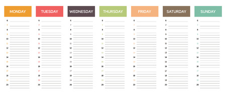 Week planning calendar in muted colors, with retro or vintage feel, business schedule, everyday planner, minimalist and appealing design