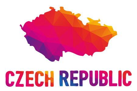Low polygonal map of the Czech Republic (Ceska republika) also known as Czechia (Cesko) with sign Czech Republic, both in warm colors; landlocked country in Central Europe