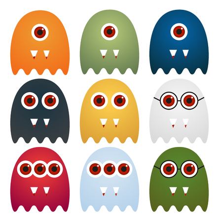 Set of 9 cute ghosts with one, two or three eyes or glasses, with sharp tooth with blood, in different colors, isolated on white