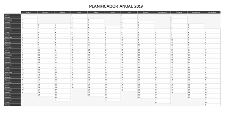 Year planning calendar for 2019 in Spanish - Planificador anual 2019; Sundays are highlighted, greyscale monochrome variation  イラスト・ベクター素材