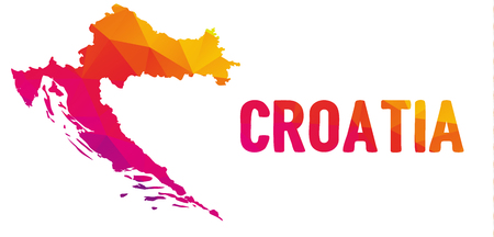 Low polygonal map of the Republic of Croatia (Republika Hrvatska) also known as Croatia (Hrvatska) with sign Croatia, both in warm colors; country at the crossroads of Central and Southeast Europe, on the Adriatic Sea
