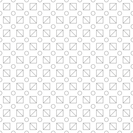 Seamless pattern made or polka dots and triangles in square shape - black outlines (outlit, contour, silhuette) white background  イラスト・ベクター素材