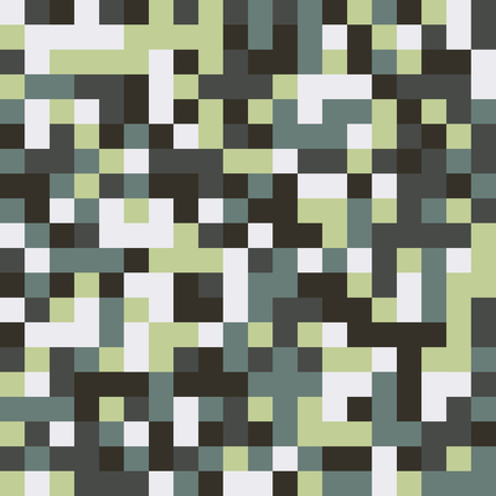 Seamless pattern made of colorful squares rotated by 90 degrees, endless mosaic texture made of muted green shades, white, dark gray, fashionable background, great texture for 8bit games