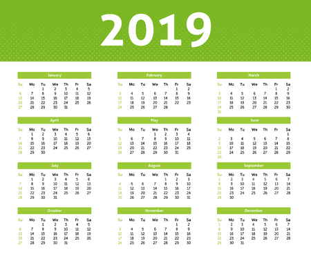 2019 year calendar with English month, ligh green halftone style with white backround, week starts with Sunday, nice minimalist design Ilustração