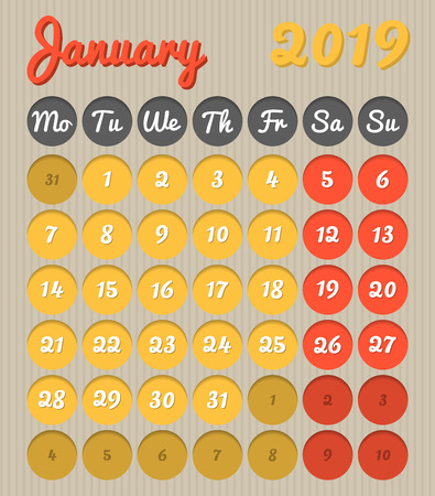 Modern month planning calendar in English for January 2019, cardboard style with vivid colors of yellow and red, weekend highlighted, Monday to Sunday  (all year avalaible in portfolio) 写真素材 - 116053689