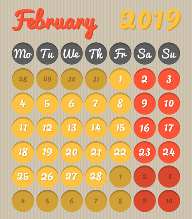 Modern month planning calendar in English for February 2019, cardboard style with vivid colors of yellow and red, weekend highlighted, Monday to Sunday  (all year avalaible in portfolio)