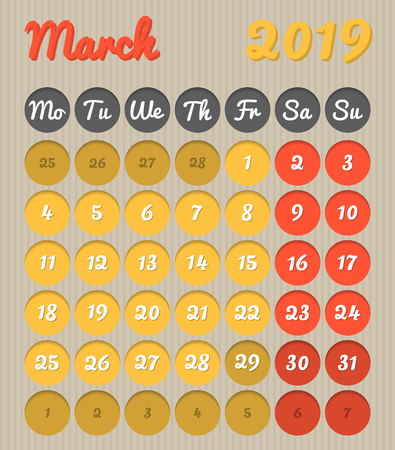 Modern month planning calendar in English for March 2019, cardboard style with vivid colors of yellow and red, weekend highlighted, Monday to Sunday  (all year avalaible in portfolio) Ilustração
