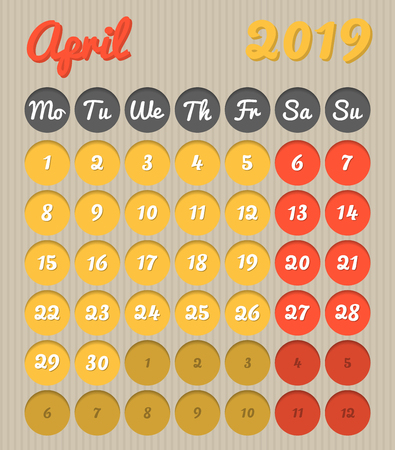 Modern month planning calendar in English for April 2019, cardboard style with vivid colors of yellow and red, weekend highlighted, Monday to Sunday  (all year avalaible in portfolio) Ilustração