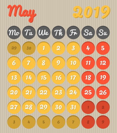 Modern month planning calendar in English for May 2019, cardboard style with vivid colors of yellow and red, weekend highlighted, Monday to Sunday  (all year avalaible in portfolio)