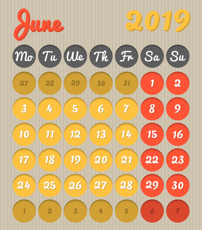 Modern month planning calendar in English for June 2019, cardboard style with vivid colors of yellow and red, weekend highlighted, Monday to Sunday  (all year avalaible in portfolio)