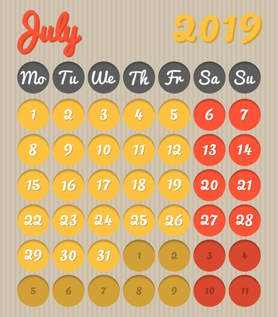 Modern month planning calendar in English for July 2019, cardboard style with vivid colors of yellow and red, weekend highlighted, Monday to Sunday  (all year avalaible in portfolio)  イラスト・ベクター素材