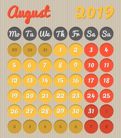 Modern month planning calendar in English for August 2019, cardboard style with vivid colors of yellow and red, weekend highlighted, Monday to Sunday  (all year avalaible in portfolio)