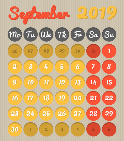 Modern month planning calendar in English for September 2019, cardboard style with vivid colors of yellow and red, weekend highlighted, Monday to Sunday  (all year avalaible in portfolio)