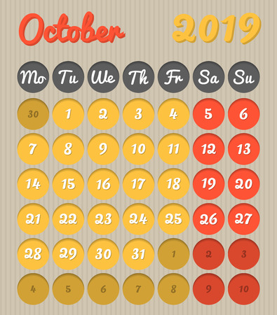 Modern month planning calendar in English for October 2019, cardboard style with vivid colors of yellow and red, weekend highlighted, Monday to Sunday  (all year avalaible in portfolio)
