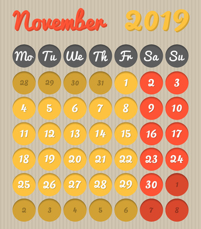 Modern month planning calendar in English for November 2019, cardboard style with vivid colors of yellow and red, weekend highlighted, Monday to Sunday  (all year avalaible in portfolio)