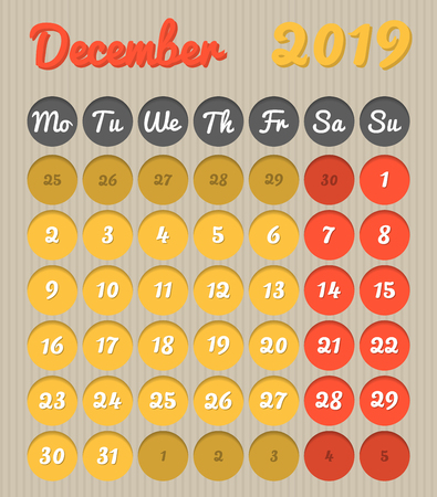 Modern month planning calendar in English for December 2019, cardboard style with vivid colors of yellow and red, weekend highlighted, Monday to Sunday  (all year avalaible in portfolio)