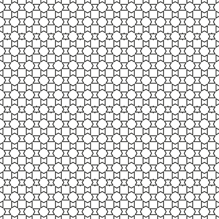Seamless simple triangle black and white pattern, regular equilateral triangles, with black outline, unusual abstract background, every 5th row is slightly different for more interesting look, interesting texture