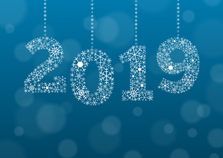 New Years card - PF - for year 2019, numbers are made of white snowflakes on blue background with bokeh effect and enough copyspace for you text and signature