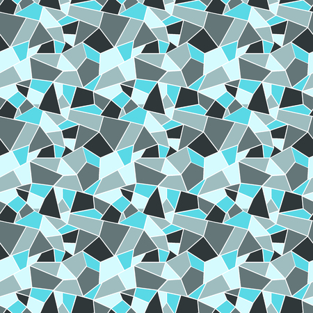 Seamles vitrage (stained-glass) pattern in cold colors of blue and grey, outlined polygonal ornamets with white outline, background with winter cold feel