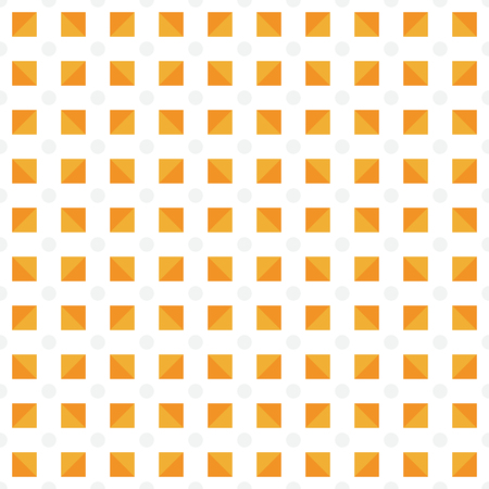 Seamless pattern made or light tan polka dots and orange (dark and light) triangles in square shape on white background, vivid texture background