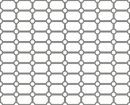 Black and white seamless pattern made of outlined rectangles with cut corners in the circular shape, abstract geometry texture for your background