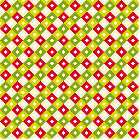 Seamless swatch pattern - square or rhombus ornaments in diagonal way and vivid christmas colors - shades of green, red and tan with white squares in center of each one, X-mas background