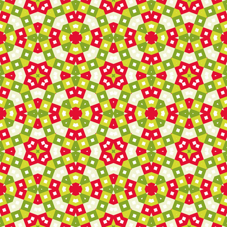 Seamless tile pattern background  in vivid festive christmas colors, kaleidoscope style, xmas colors of light and dark green, red and tan, geometric wallpaper, abstract backdrop