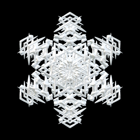 Illustration of white symmetrical 3D snowflake isolated on black, seasonal cut out decoration