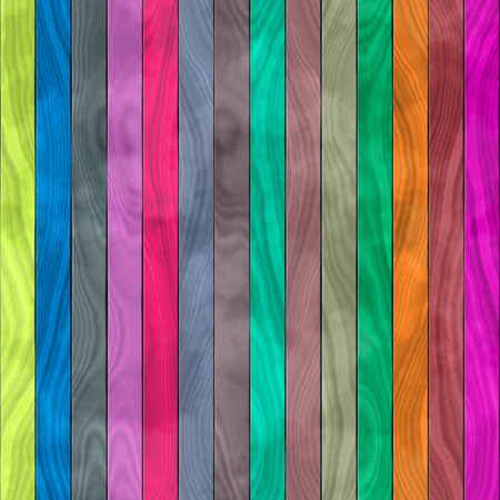 Seamless pattern of wooden planks in vivid and wood - unusual colors of yellow, blue, pink, green, purple, black, grey and brown, still visible wood texture