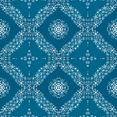 Seamless pattern made of white snowflakes on blue background, traditional seasonal winter christmas background with ice flakes 写真素材